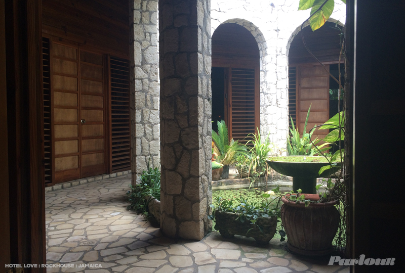 The interior courtyard/pool at the Spa at Rockhouse