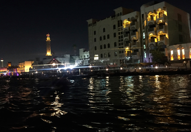 Leaving the Gold Souk via a ferry across the creek