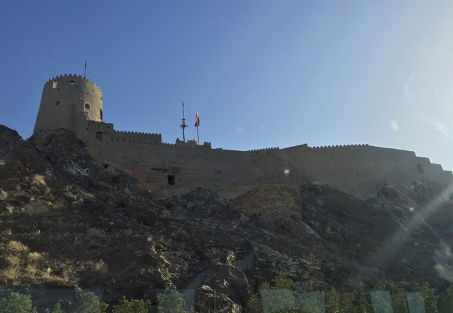 One of the forts of Muscat while driviing through the mountains