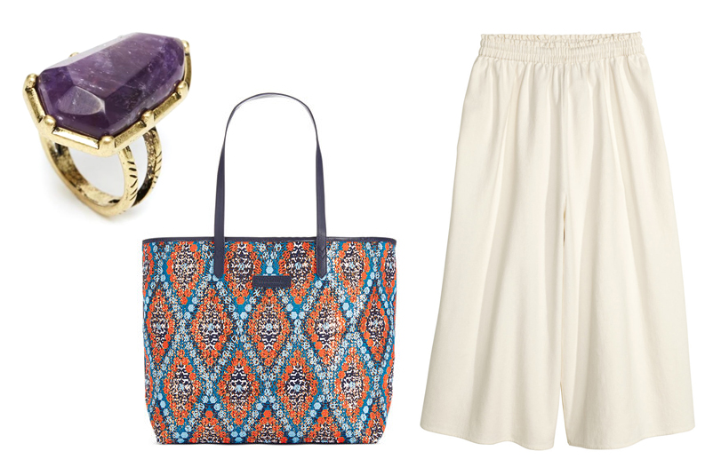 Semi Precious Ring by Asos; Summer Sparkle Tote by Vera Bradley; Culottes from H&M