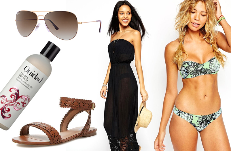 Aviator Flat Metal Sunglasses y Ray-Ban; Ouidad Climate Control Heat & Humidity Gel; Ava & Aiden Paula Laser-Cut Flat Sandal from Gilt; Broderie Hem Maxi Beach Dress from Asos; River Island Kerr Palm Leaf Balconette & Brief from Asos