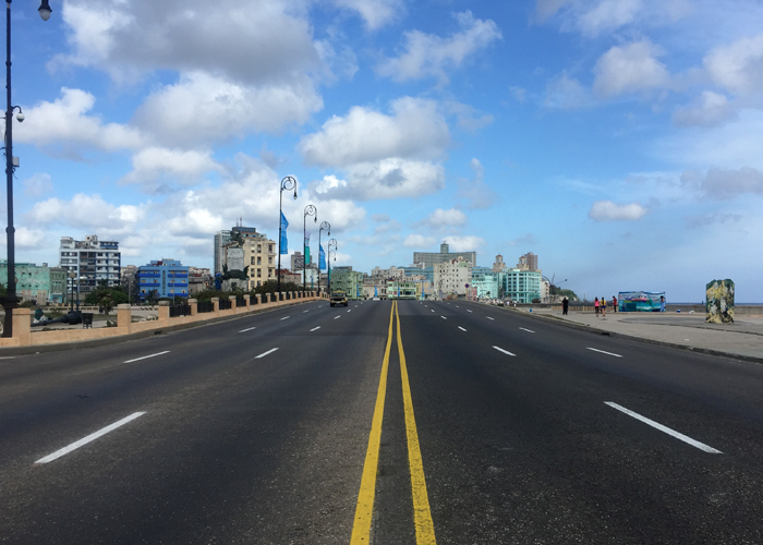 An early morning, empty malecón