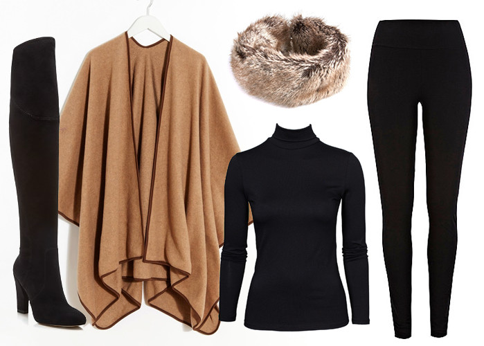 Ivan Tump Boots; Camel Fleece Cape by ASOS; VILA Rollneck Top; Barbour Fur Ski Headband; River Island Leggings