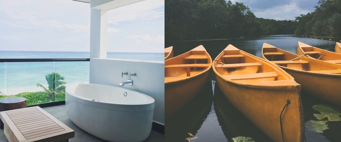 left: Take in the view from your terrace hydro spa tub, right: Discover the Cenote Nava on a UNICO Signature Tour
