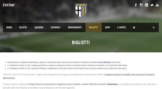 Important notice about Parma vs Juventus tickets