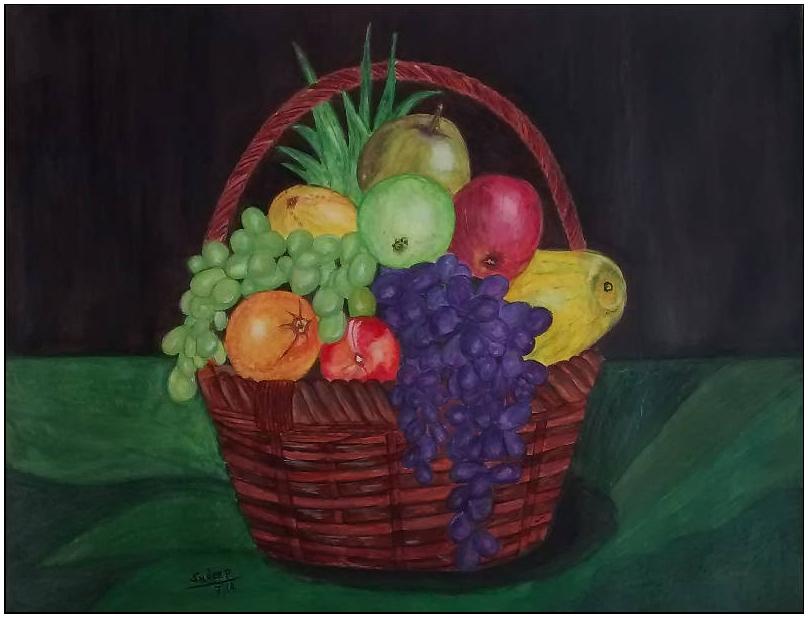 Fruit basket watercolor