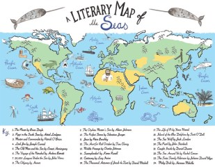 How cool is this for a kitchen, office, beach house, or child's room? A literary map of the seas! A hand drawn full-color, gallery quality giclee fine art print of 24 great books set in the ocean.