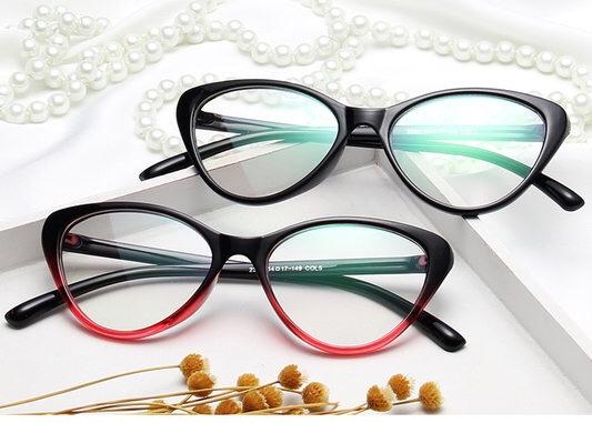 Netti alul piros cica fazonú divatszemüveg nőknek