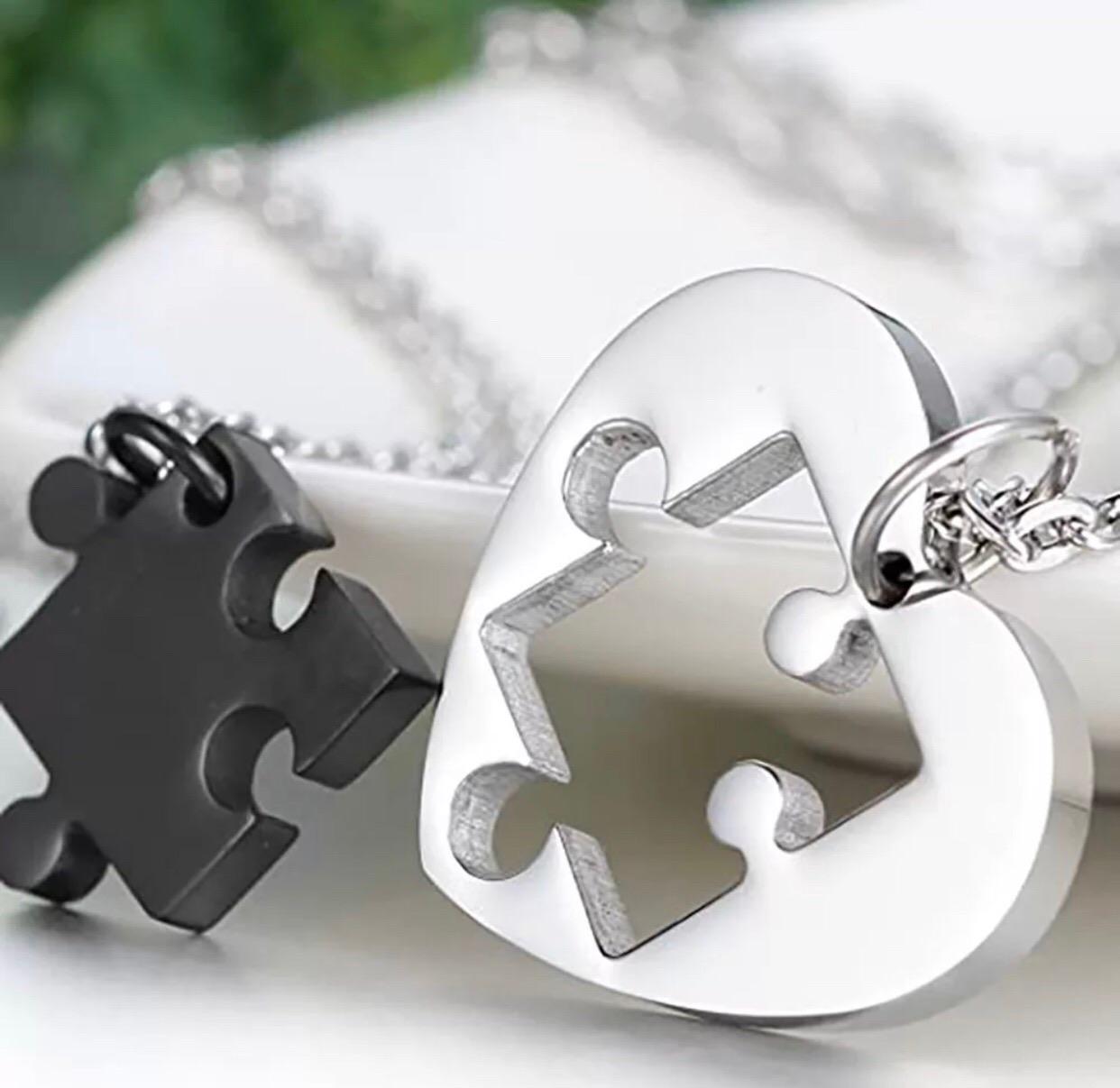Puzzle nemesacél páros nyaklánc