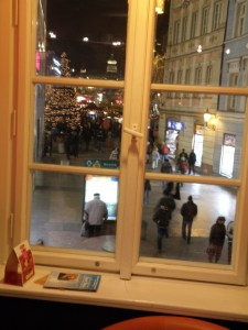 View of Christmas looking out window of Coffe Heaven (Costa) Prague