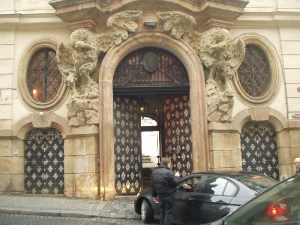 Car entering Italian embassy in Prague
