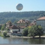 tethered balloon over Prague