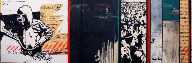 Daniel Melim, Quintal da fábrica - tríptico, 2014, Acrílica, latex e spray sobre tela