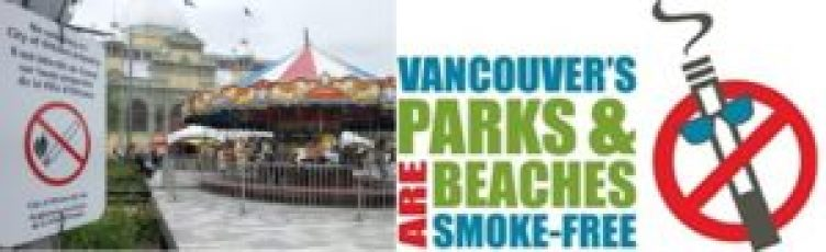 Esquerda: proibição de fumar em todos os espços municipais de Ottawa; direita: vinheta usada no portal da Prefeitura de Vancouver para divulgar a proibição de fumar nos parques e praias da cidade.