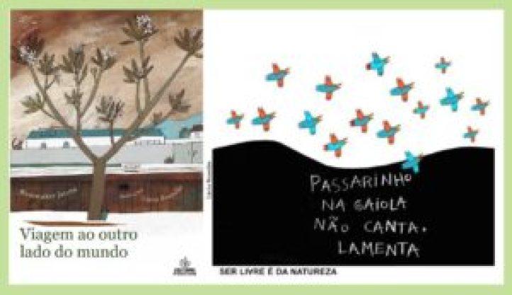 """Lúcia Brandão, ilustração de capa de Viagem ao outro lado do mundo, de Roniwalter Jatobá (2012, Editora Positivo) e pôster da exposição """"Passarinho na gaiola não canta, lamenta"""" (São Paulo, 2011)"""