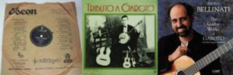 """Da esquerda para a direita: capa do disco 78rpm """"São Paulo Quatrocentão"""", de 1954; disco """"Tributo a Garoto"""" por Raphael Rabello e Radamés Gnattali, de 1982; disco do violonista Paulo Bellinati dedicado à música de Garoto."""
