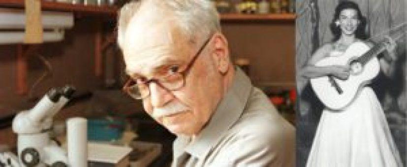 """O zoόlogo e compositor paulistano Paulo Vanzolini e a primeira intérprete a gravar a sua famosa canção """"Ronda""""."""