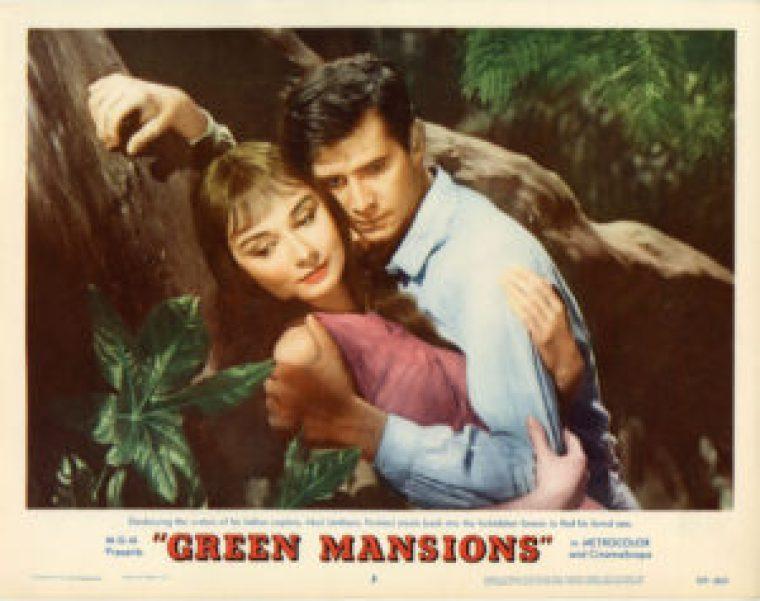 """Cartaz do filme """"Green Mansions"""", de 1959, com Audrey Hepburn e Anthony Hopkins."""