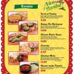 El Menú de comidas de Navidad en Disneyland, Torta al Pastor, Sopes de Barbacoa, Tacos, Ceviche, Chicken Mole y Pozole