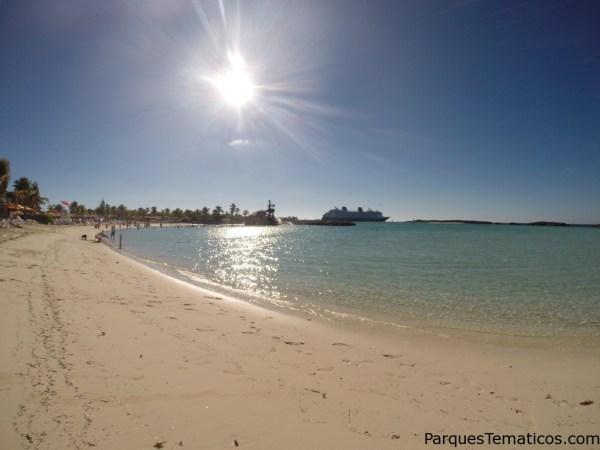 Imagen desde la orilla de la Isla privada Castaway Cay