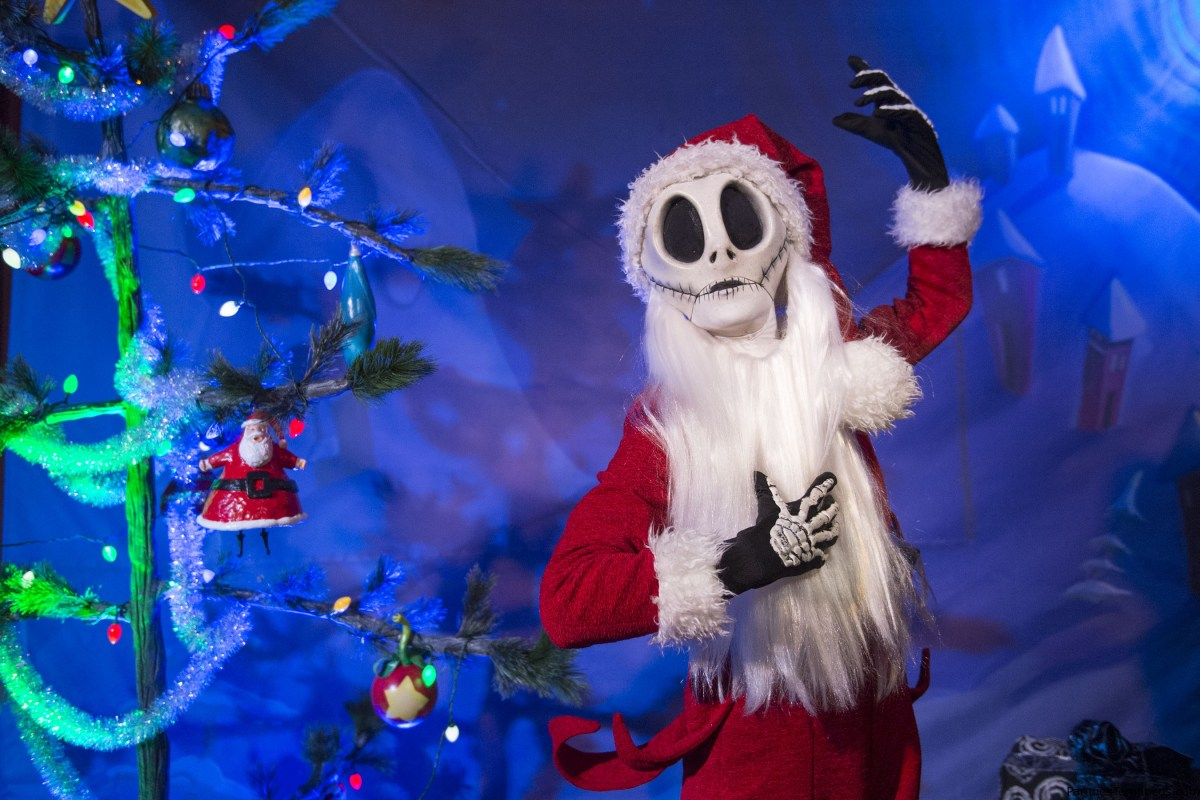 """The Pumpkin King himself, Jack Skellington, joins the holiday celebration at Walt Disney World Resort during MickeyÕs Very Merry Christmas Party. Dressed as """"Sandy Claws,"""" Jack is greeting party guests and bringing Christmastown to Storybook Circus at Magic Kingdom. The special-ticket event takes place on select nights in November and December at Magic Kingdom in Lake Buena Vista, Fla."""