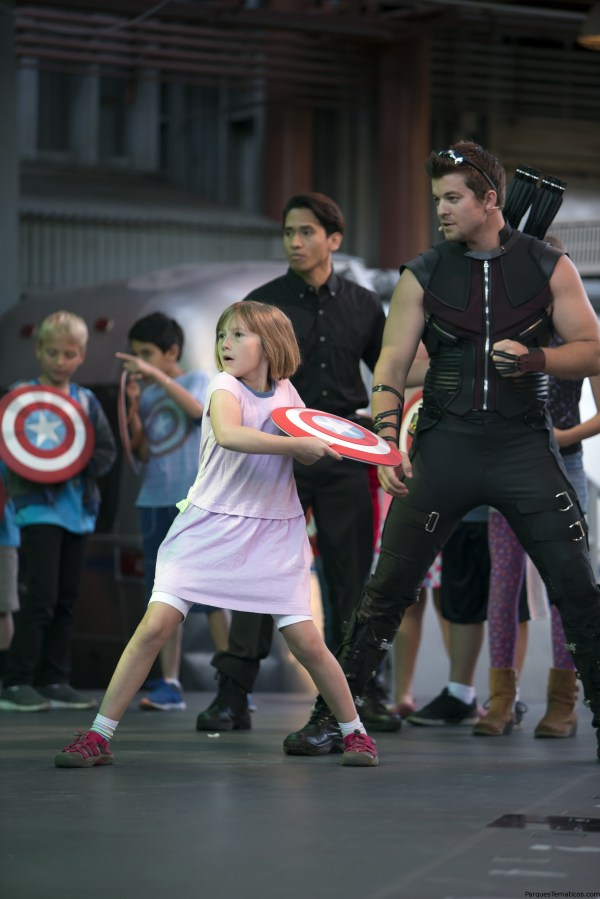 RECRUITS IN TRAINING — An aspiring young Avenger trains with the master archer Hawkeye in the interactive show Avengers Training Initiative at Disney California Adventure Park. Guests will find excitement throughout Hollywood Land during Summer of Heroes with the Avengers Training Initiative featuring Black Widow and Hawkeye, and heroic encounters with Black Widow, Captain America and Spider-Man.