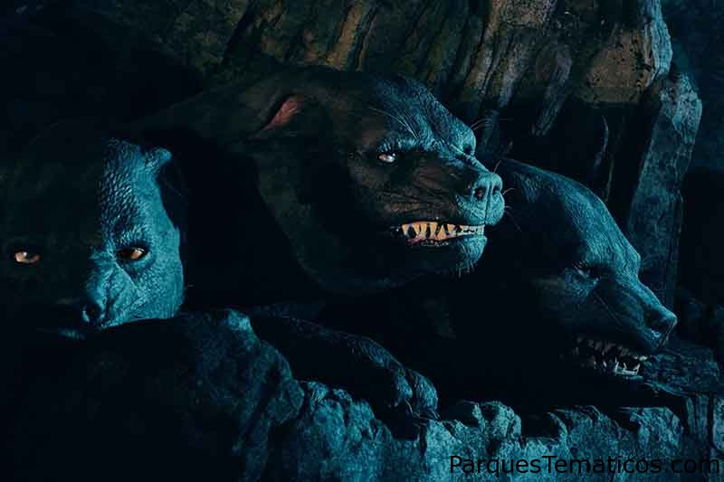 Fluffy, the Three-Headed Dog in Hagrid's Magical Creatures Motorbike Adventure