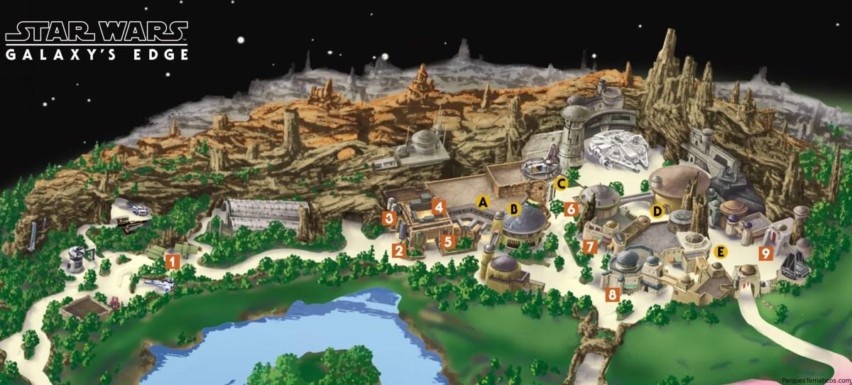 Mapa de Star Wars: Edge, y regresa Soarin a Disneyland