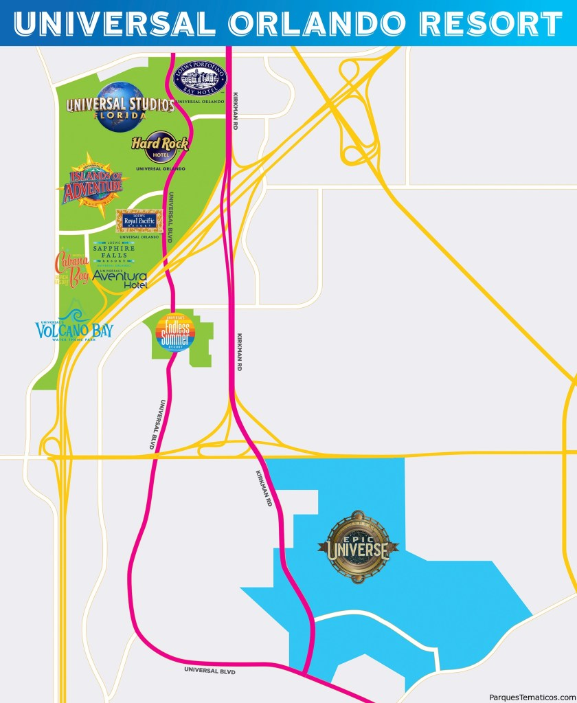 Mapa  Oficial Universal's Epic Universe, el cuarto parque temático de Universal Orlando Resort