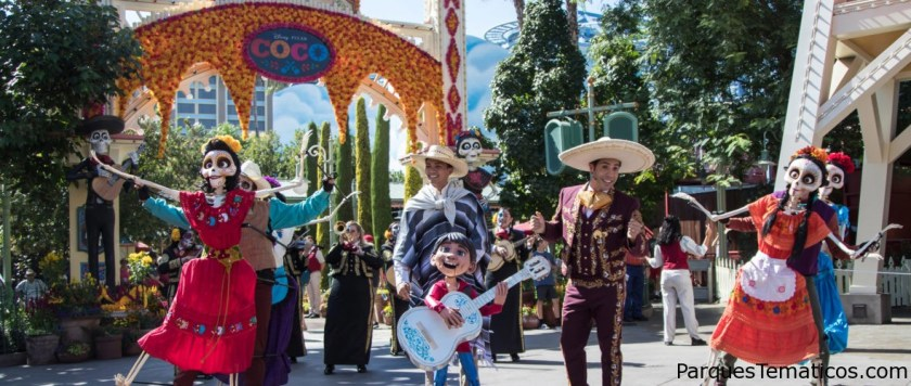 A Musical Celebration of Coco, taking place Sept. 6-Oct. 31, 2019, at Disney California Adventure Park, brings together the traveling Storytellers of Plaza de la Familia. In this festive performance, Miguel is joined by singing host Mateo, the Grammy® Award-winning Mariachi Divas and authentic folklórico dancers. The group entertains guests with beloved songs from the film, transporting everyone into the story of young Miguel's fantastical journey. Disneyland Resort is located in Anaheim, California