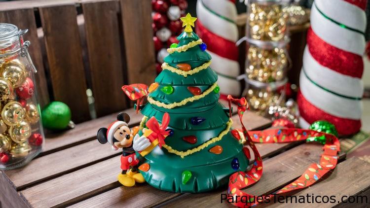 Disneylandia con comidas navideñas alegres y brillantes