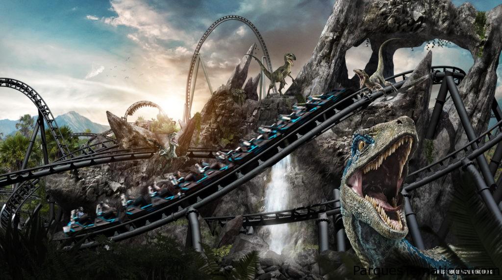 Detrás de la caza de la nueva montaña rusa VelociCoaster de Jurassic World