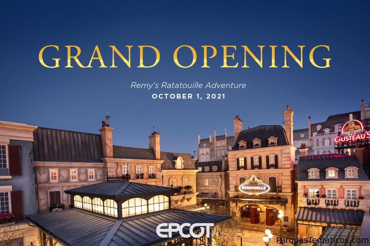 Inauguración de Remy's Ratatouille Adventure en EPCOT programada para el 1 de octubre, en honor al 50 aniversario de Walt Disney World