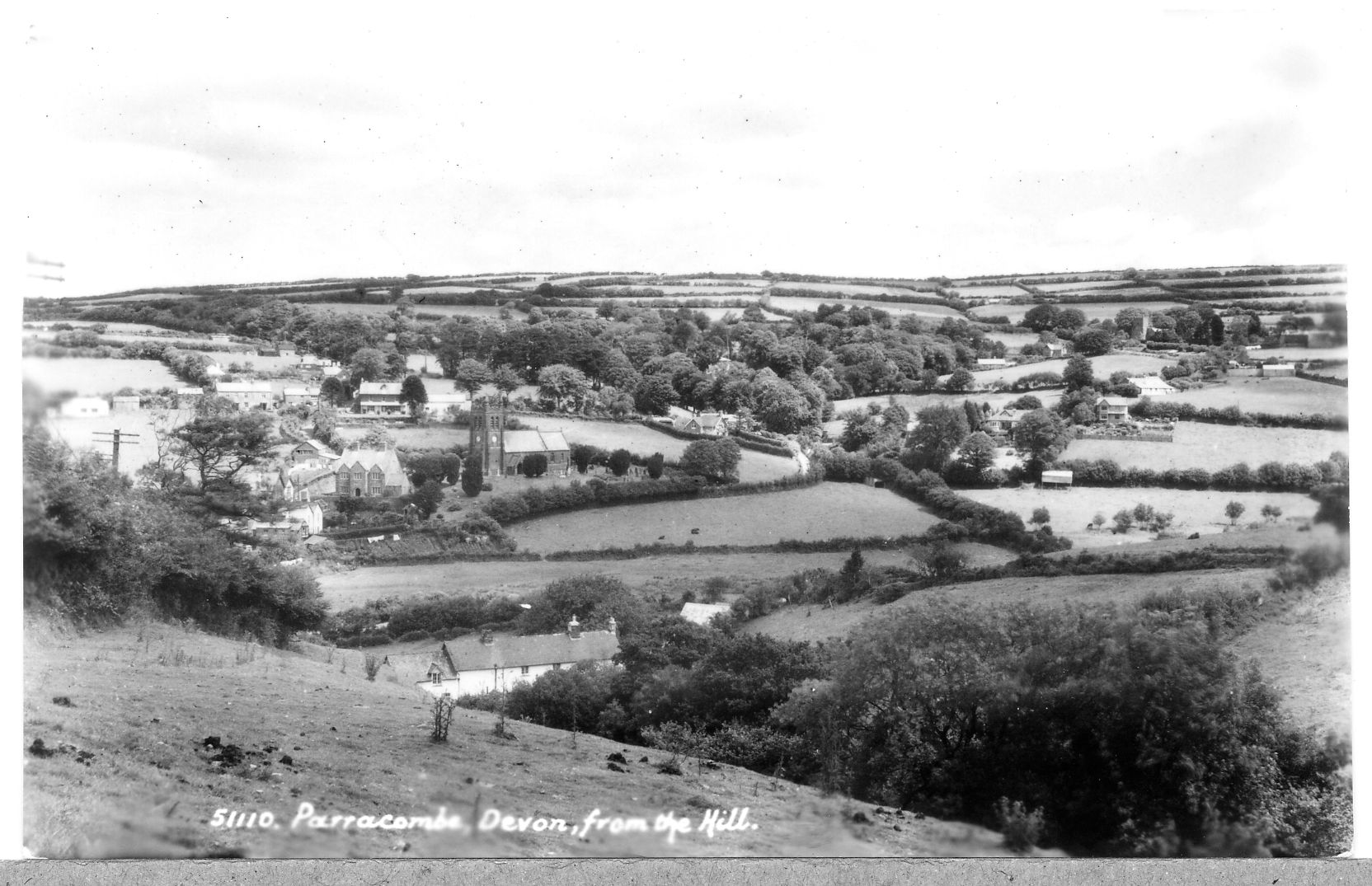 Postcard of 'Parracombe, from the Hill' - kind permission of the Antell Family