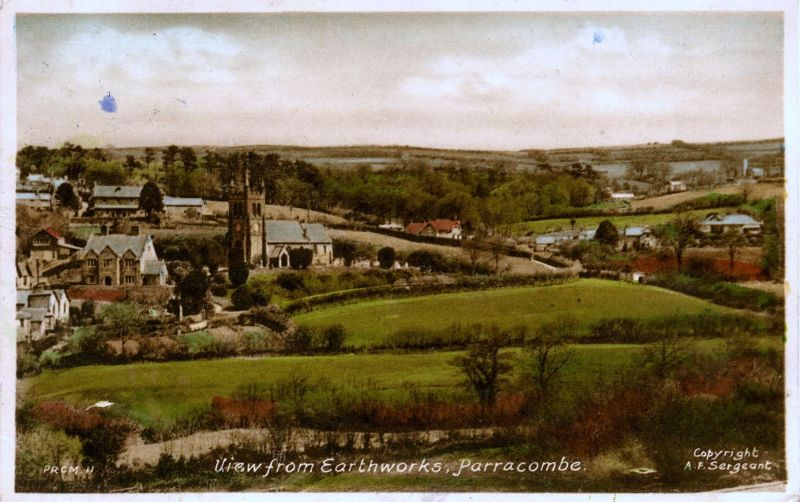 Postcard of 'View from Earthworks, Parracombe' - kind regards of the  Antell Family