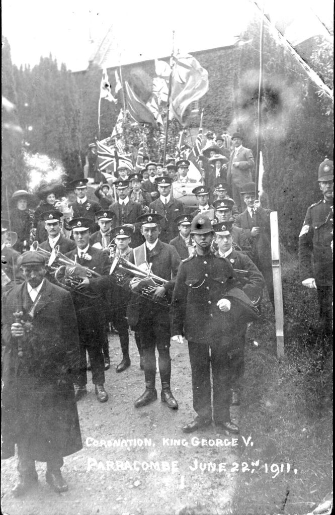 Parracombe Band parade in 1911 Coronation - kind permission of Bill Delbridge