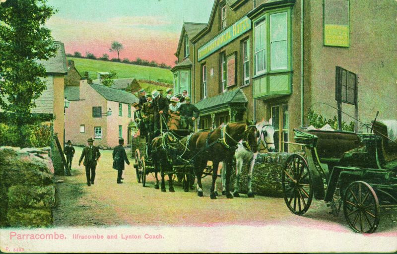 Postcard of 'Parracombe, Ilfracombe and Lynton Coach' - kind permission of Phillip Petherick