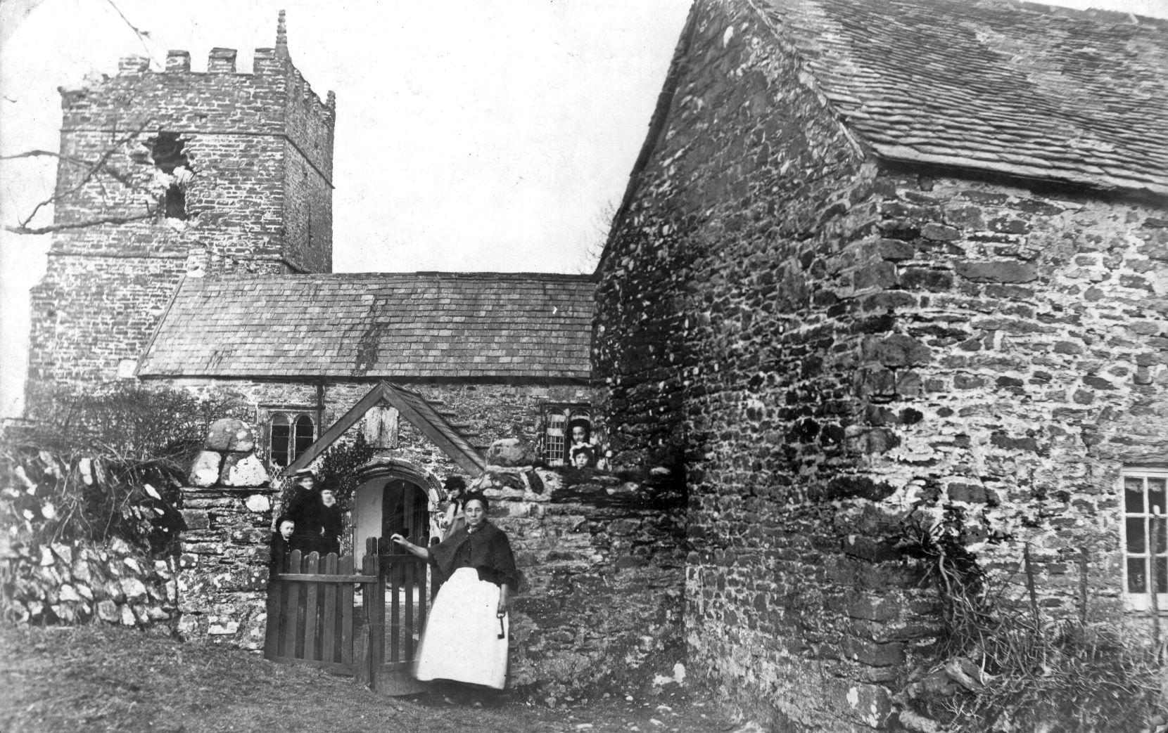 St. Petrocks Church, Parracombe, Devon.  January 1908 struck by lightening - Kind permission of Phillip Petherick