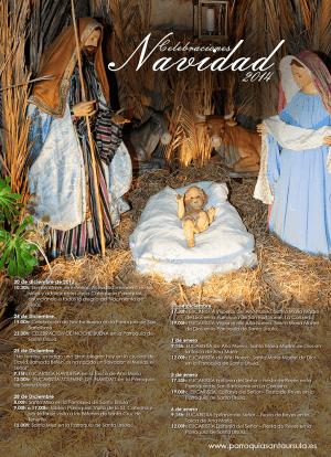 Cartel con el programa de celebraciones de Navidad de Santa Úrsula 2014