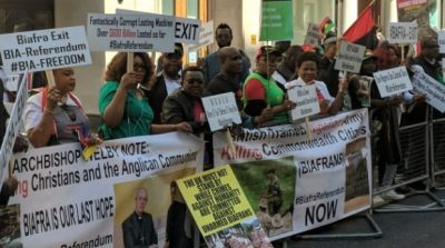 BREAKING: Biafra protesters storm CHOGM as Buhari meets the Queen