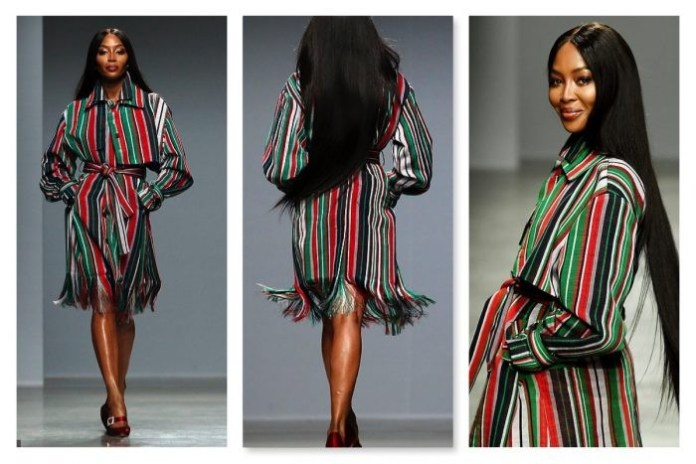 Naomi Campbell turns heads on Paris runway modelling for Nigerian designer Kenneth Ize