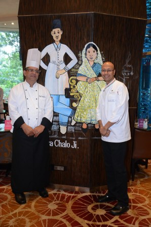 Chef Tehmtan from the Ripon Club and the Executive Chef of Sofitel Indrajit Saha at the Parsi Festival