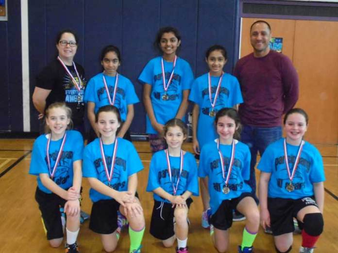 Pictured from left to right kneeling: Allison Rice, Carlee Urban, Kaylin Volltrauer, Lauren Hernandez, Kiersten Koch. Standing from left to right: Manager Laurie, Dhrasti Patel, Laya Neelisetty, Pooja Patel, and Coach Pete.