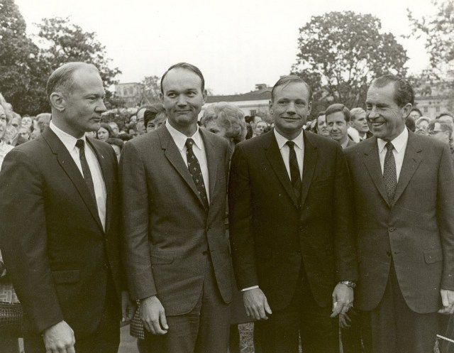 (November 5, 1969) President Nixon meets the Apollo 11 astronauts, Neil A. Armstrong, Edwin E. Aldrin,Jr., and Michael Collins, on the lawn of the White House on their return from their Global Goodwill Tour. The GIANTSTEP-APOLLO 11 Presidential Goodwill Tour emphasized the willingness of the United States to share its space knowledge. The tour carried the Apollo 11 astronauts and their wives to 24 countries and 27 cities in 45 days.