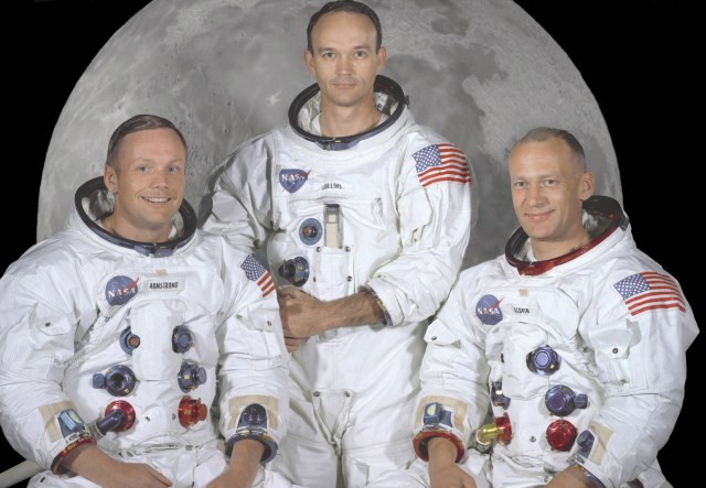 "(May 1, 1969) Portrait of the prime crew of the Apollo 11 lunar landing mission. From left to right they are: Commander, Neil A. Armstrong, Command Module Pilot, Michael Collins, and Lunar Module Pilot, Edwin E. Aldrin Jr. On July 20th 1969 at 4:18 PM, EDT the Lunar Module ""Eagle"" landed in a region of the Moon called the Mare Tranquillitatis, also known as the Sea of Tranquillity. After securing his spacecraft, Armstrong radioed back to earth: ""Houston, Tranquility Base here, the Eagle has landed"". At 10:56 p.m. that same evening and witnessed by a worldwide television audience, Neil Armstrong stepped off the ""Eagle's landing pad onto the lunar surface and said: ""That's one small step for a man, one giant leap for mankind."" He became the first human to set foot upon the Moon."