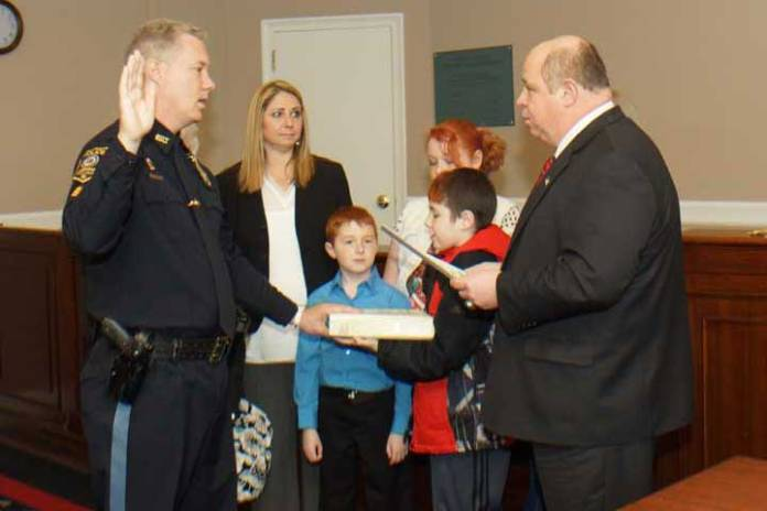 Lieutenant Thomas Pomroy during the swearing in celebration at Town Hall