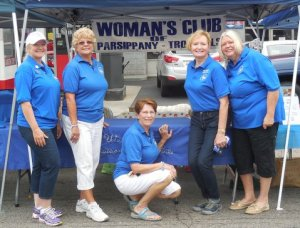 Club members after setting up Woman's Club of Parsippany Troy Hills booths at Parsippany's Annual Fall Festival.  Fr left: Club memberJoan Biondo, club President Marilyn Marion, and club members Janet Reilly,  Vicki Golden and Joan Garbarino.