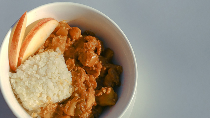 Japanese Apple Chicken Curry for HCG with Cauliflower Rice