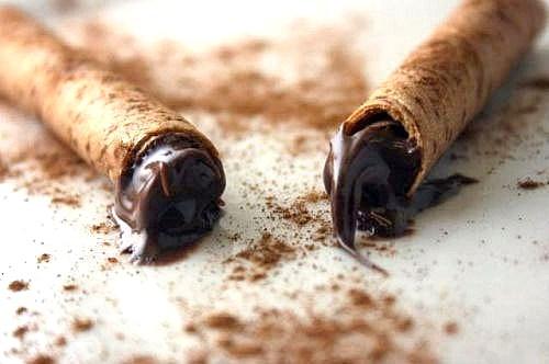 Nutella - Cinnamon Sticks - Rolled Cinnamon Tuile Cookies filled with Nutella