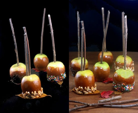 Miniature Peanut Butter Caramel dipped Apples! Using tiny Lady apples for an almost bite-sized caramel dipped apple is not only fun, but easier on the teeth!